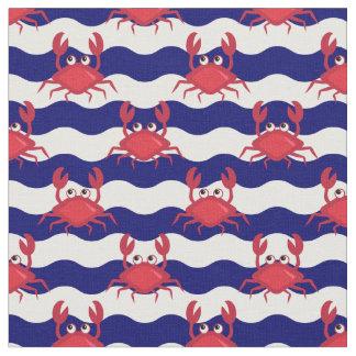Tecido Teste padrão feliz dos caranguejos