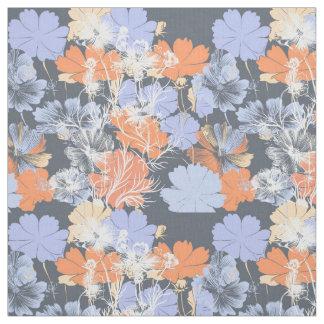 Tecido Teste padrão floral alaranjado violeta cinzento do
