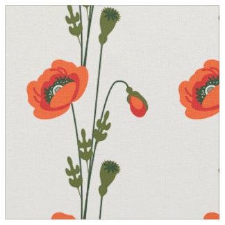 Tecido Teste padrão floral da papoila vermelha