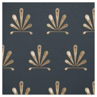 Tecido Teste padrão floral dourado com fundo azul escuro