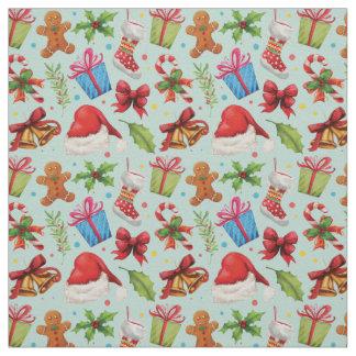 Tecido Teste padrão floral verde vermelho do Natal da