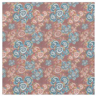 Tecido Teste padrão floral vermelho e azul bonito