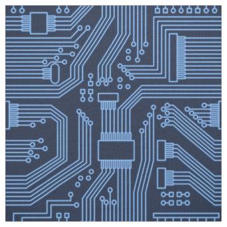 Tecido Teste padrão ID245 azul do conselho de circuito