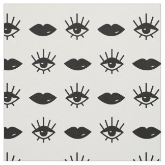 Tecido Teste padrão preto e branco dos olhos & dos lábios