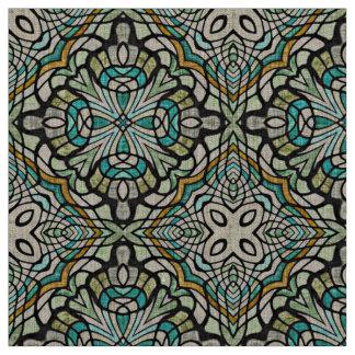 Tecido Teste padrão retro de Nouveau Deco de turquesa