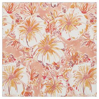 Tecido Teste padrão tropical do hibiscus do pêssego de