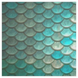 Tecido Teste padrão verde Minty das escalas de peixes da
