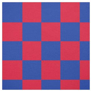 Tecido Teste padrão vermelho e azul do tabuleiro de damas