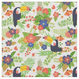 Tecido Toucan & flores tropicais