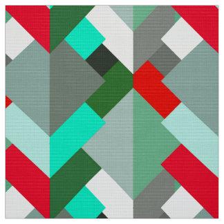 Tecido Triângulos, turquesa, vermelho, & cinzas abstratos