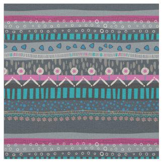 Tecido tribal floral azul cinzento do impressão