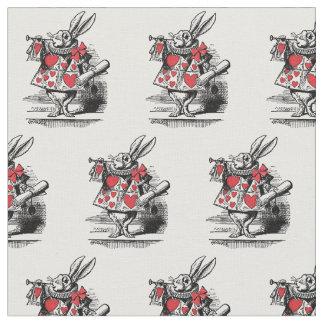 Tecido Trompetista branca Alice da corte do coelho no