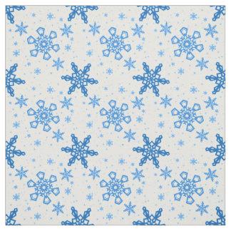 Tecido Turquesa dos flocos de neve no branco