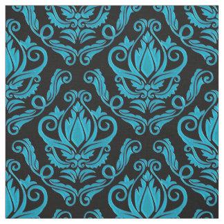 Tecido Turquesa e impressão preto do damasco