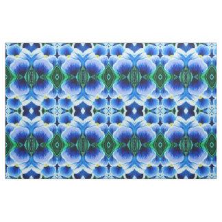 Tecido Único abstrato azul do açafrão