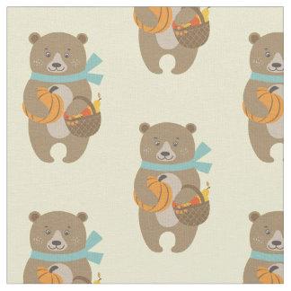 Tecido Urso da acção de graças - urso com abóbora e cesta