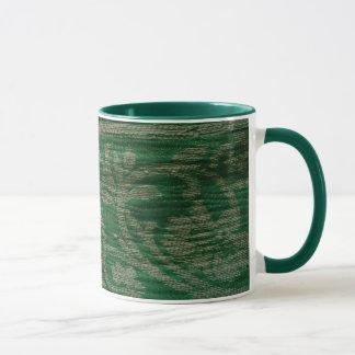 tecido verde caneca textured com detalhe de prata
