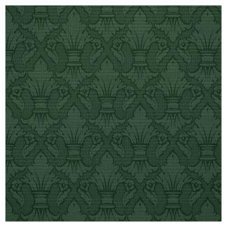 Tecido verde do teste padrão da flor de lis