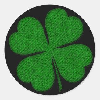 Tecido verde etiquetas Textured do design do trevo Adesivo