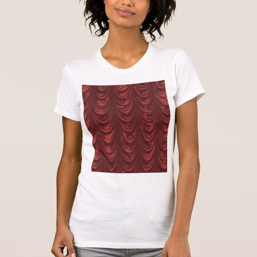 Tecido vermelho do cetim com teste padrão camiseta