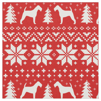 Tecido Vermelho do teste padrão do Natal das silhuetas de