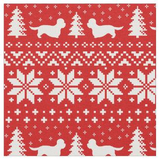 Tecido Vermelho do teste padrão do Natal dos terrier de