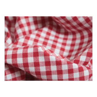 Tecido vermelho e branco do guingão convite