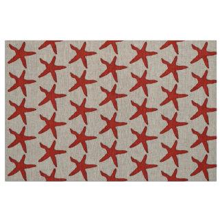 Tecido vermelho náutico da praia da estrela do mar do