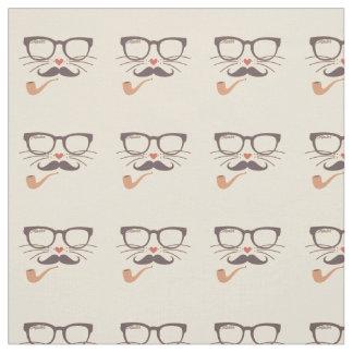 Tecido Vidros bigode e tubulação do hipster