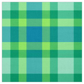 Tecido Xadrez moderna do meio século - verde e azul de