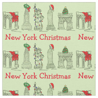 Tecido Xmas do feriado dos marcos do Natal da Nova Iorque