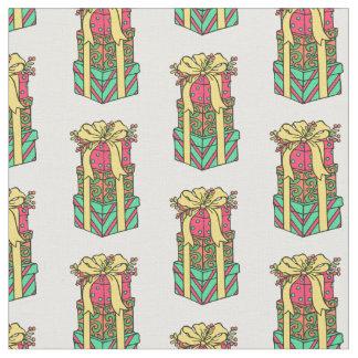 Tecido Xmas envolvido empilhado dos presentes de Natal