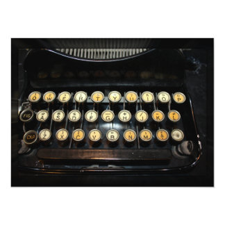 Teclado de máquina de escrever do vintage convite 13.97 x 19.05cm