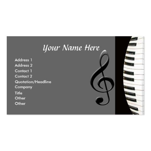 Teclado de piano modelos cartoes de visita
