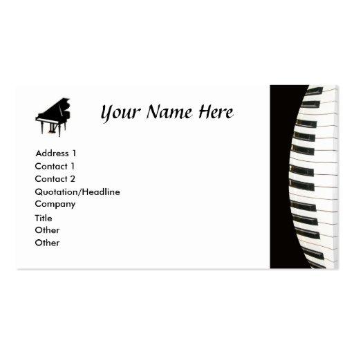 Teclado de piano modelo cartões de visita