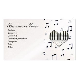 Teclado de piano das notas do coração & da música cartão de visita