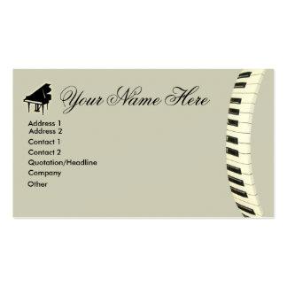 Teclado de piano de cauda modelos cartoes de visitas