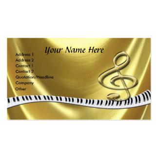 Teclado de piano do ouro do G-Clef Cartão De Visita