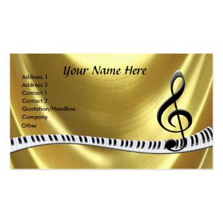 Teclado de piano do ouro do G-Clef Cartao De Visita