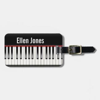 teclado de piano etiqueta de bagagem
