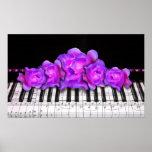 Teclado e rosas de piano poster
