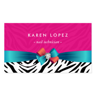 Técnico do prego - impressão cor-de-rosa na moda cartão de visita
