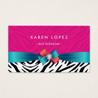 Técnico do prego - impressão cor-de-rosa na moda cartão de visitas