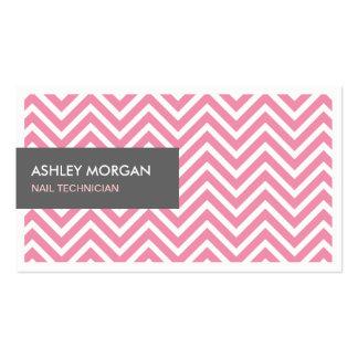 Técnico do prego - luz - ziguezague cor-de-rosa de modelos cartões de visita