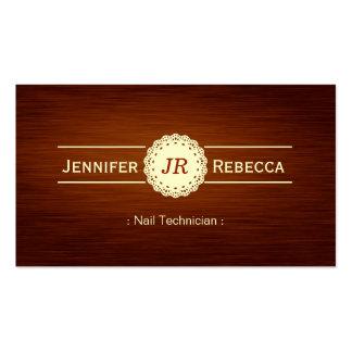 Técnico do prego - monograma de madeira da grão cartão de visita
