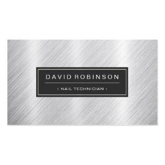 Técnico do prego - olhar escovado moderno do metal cartão de visita