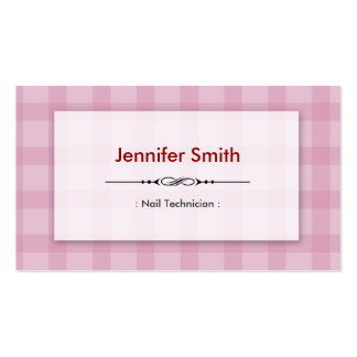 Técnico do prego - quadrados cor-de-rosa bonito cartões de visitas