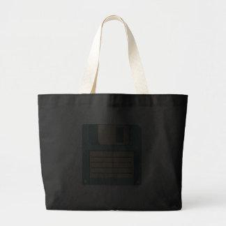 Tecnologia do vintage da disquete flexível sacola tote jumbo