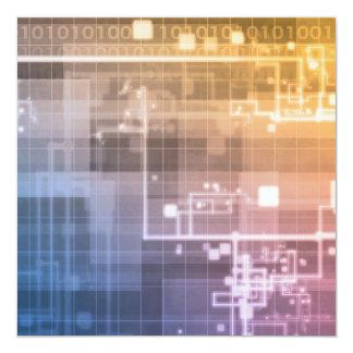 Tecnologia futurista como uma arte da próxima convite quadrado 13.35 x 13.35cm