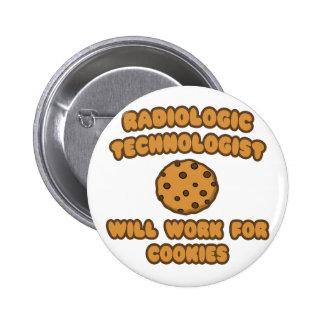 Tecnólogo radiológico. Trabalho para biscoitos Bóton Redondo 5.08cm